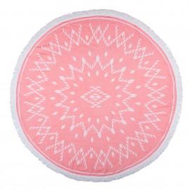 Strandtuch Jacquard-Rund-pink